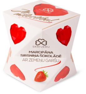 "Marzipan hearts in chocolate with strawberry flavour ""With love"""