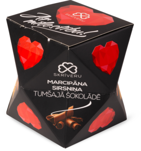 "Marzipan hearts in dark chocolate  ""With love"""