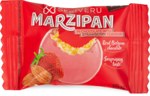 Marzipan in chocolate with strawberry flavour